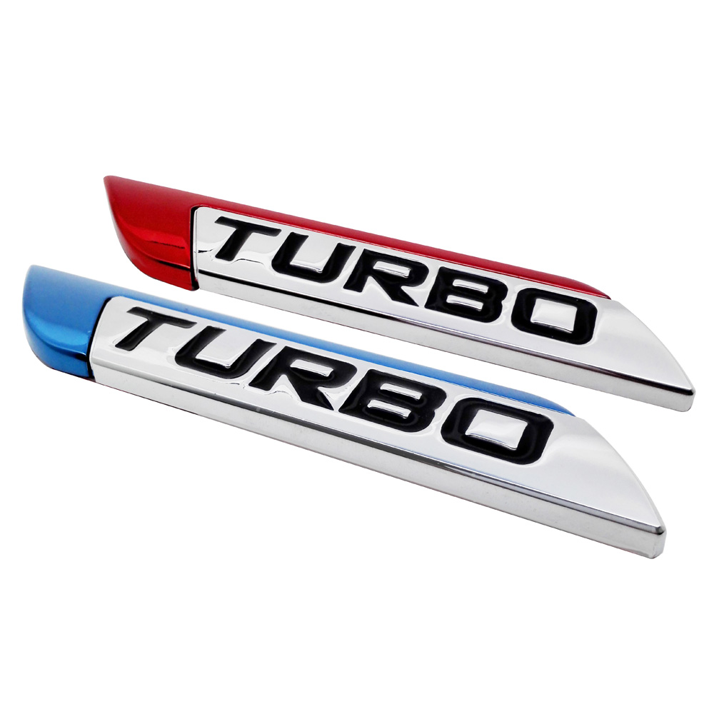 2PCS Metal Sticker 3D Car Emblem Badge Trunk Decoration TURBO Logo Decals For Nissan x-trail juke Nismo Buick Excelle Citroen C3 2pcs lot mustang 3d metal running horse emblem car door body badge sticker decoration for ford kuga fusion fiesta transit must