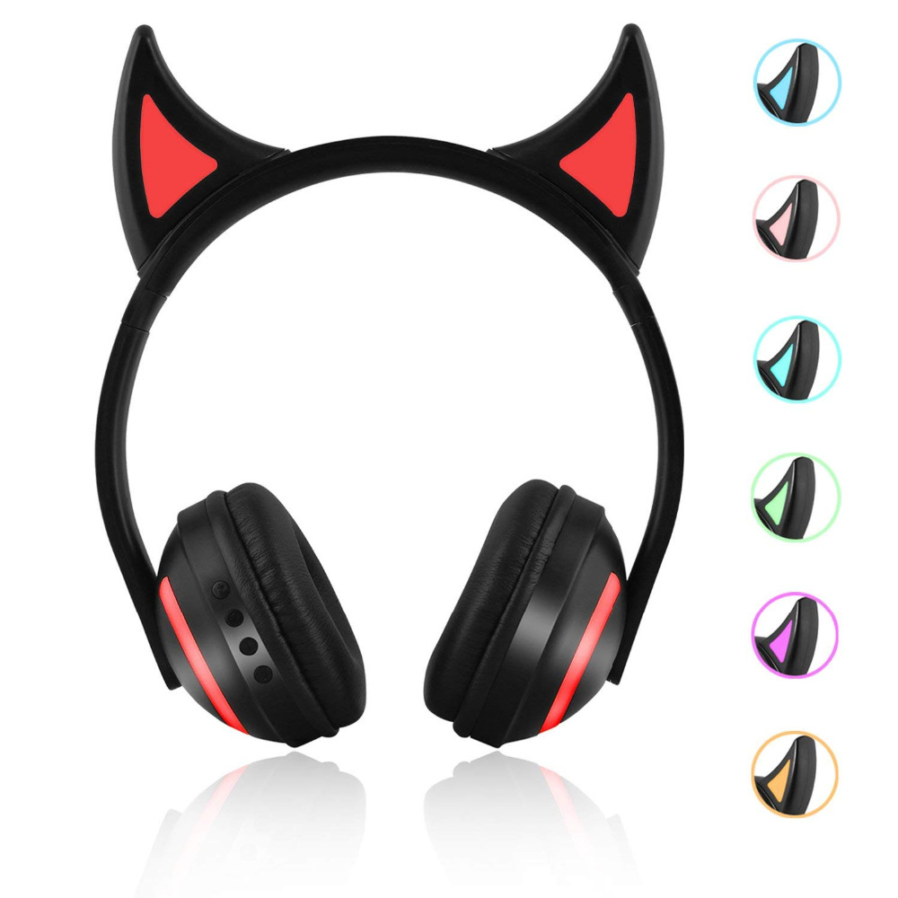 JINSERTA Wireless Bluetooth Cat Ear Headphones Seven kinds LED light Flashing Glowing Cosplay Fancy Cat Earphone gifts in Bluetooth Earphones Headphones from Consumer Electronics