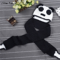Enfants Accessoires populaires Hiver Laine Tricoté Panda Chapeaux de Bébé Filles Châles avec À Capuche Cowl Beanie Caps Enfants chapeau ensemble tenue
