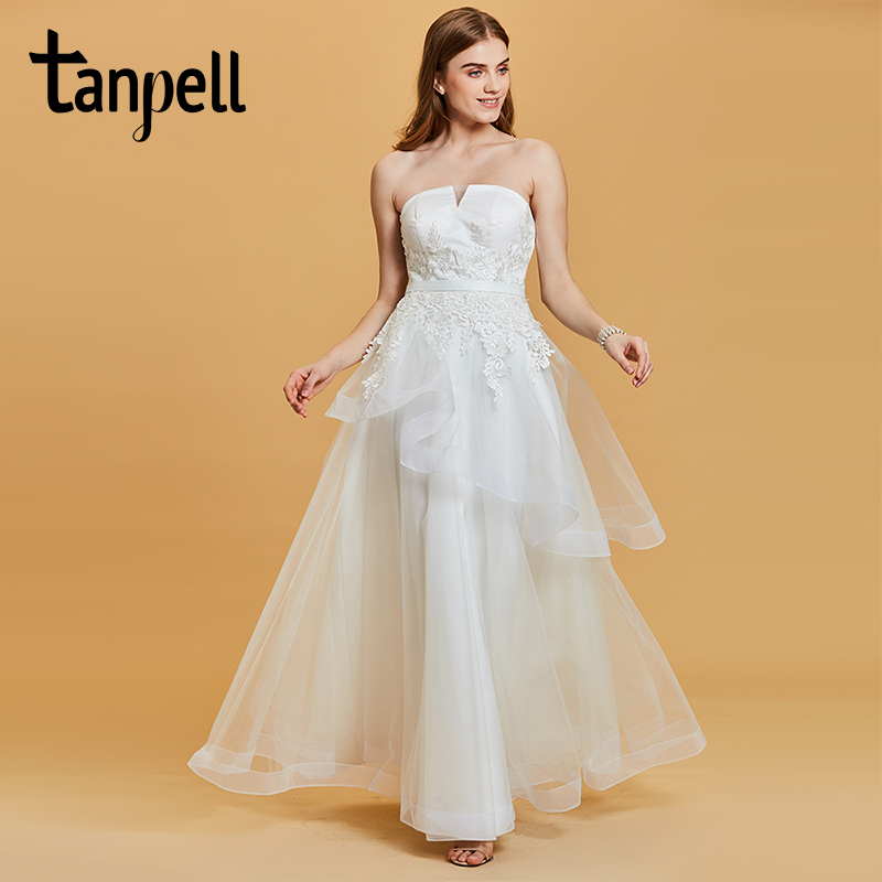 Tanpell strapless evening dress white sleeveless floor length a line gown  lady appliques wedding party formal dfdeab0ce96e
