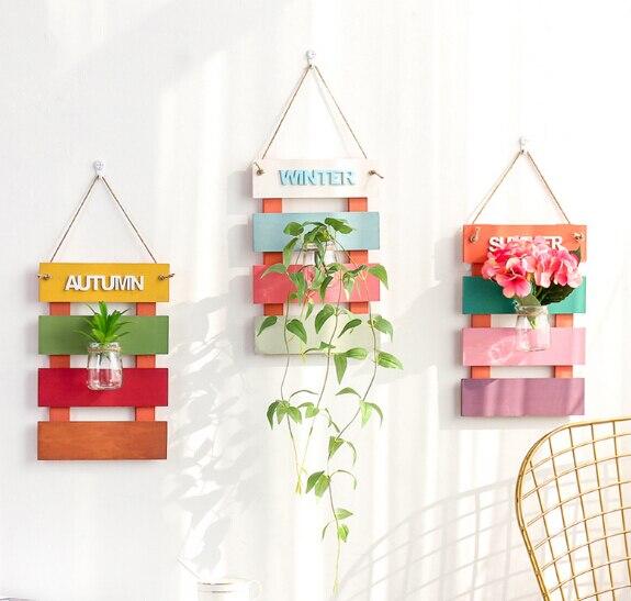 Modestil Anlage Terrarium Mit Holz Ständer Glas Vase Halter Für Home Dekoration Scindapsus Container Wohnkultur