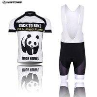Chaude Hommes Équipe Maillots De Vélo Short ensembles Blanc Pro Cycling Jersey Vélo Vêtements Chemises Panda vtt Vélo Haut Bas Respirant