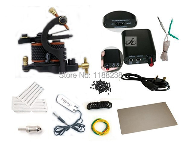 Professional Complete Tattoo Kit Tattoo Machine Gun Power Supply Needles Etc Tattoo supplies Free Shipping