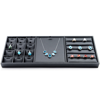 Multi functional Jewelry Box PU Leather Jewelry Display Tray Necklace Ring Holder Stand Showcase for Pendant Earrings Bracelet