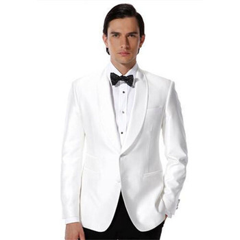 Custom Made Two Buttons Shawl Collar White Groomsman Mens Suits 2019 Bridegroom Tuxedos Best Men Wedding Suit (Jacket+Pants+tie)