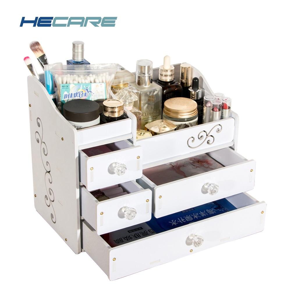 Nytt HECARE Plastframställning Organiser Lådor Vattentät Rangering Maquillage Tiroir Skruvfästning Caixa Organizador De Batom