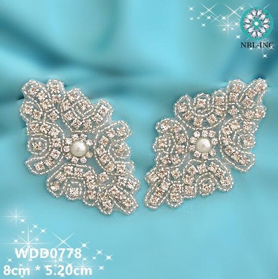 50PCS Beaded rhinestone applique DIY iron on garment hair accessories WDD0778