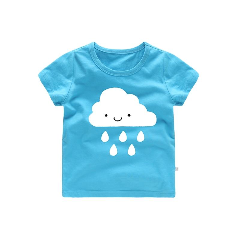Smile Cartoon Cloud Pattern girl t-shirt baby boy tshirt children clothes pink blue olive color toddler student uniform sport