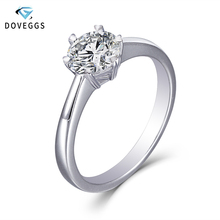 цена на DovEggs Sterling Solid 925 Silver 1ct H Color Heart and Arrow Cut Moissanite Engagement Ring for Women Wedding Gift Ladies Ring