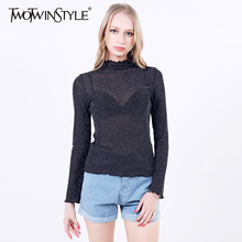 [TWOTWINSTYLE] 2017 Women all-match sexy long sleeve t-shirts solid stand collar undershirt