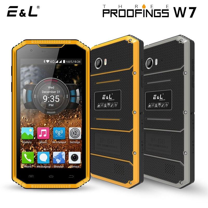E & L W7 5.0 Inch Smartphone Android 6.0 4G 1 GB RAM 16 GB ROM Waterdichte Shockproof Mobiele Telefoon Ip68 Dual Sim Ontgrendeld Mobiele telefoons