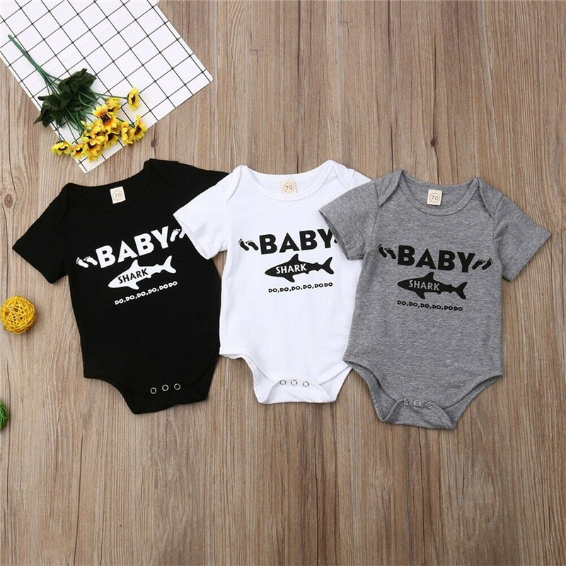 2019 Infant Newborn Baby Girl Boy Shark Print   Romper   Short Sleeve Cotton Soft Jumpsuit Outfits Sunsuit Summer Clothes For Baby