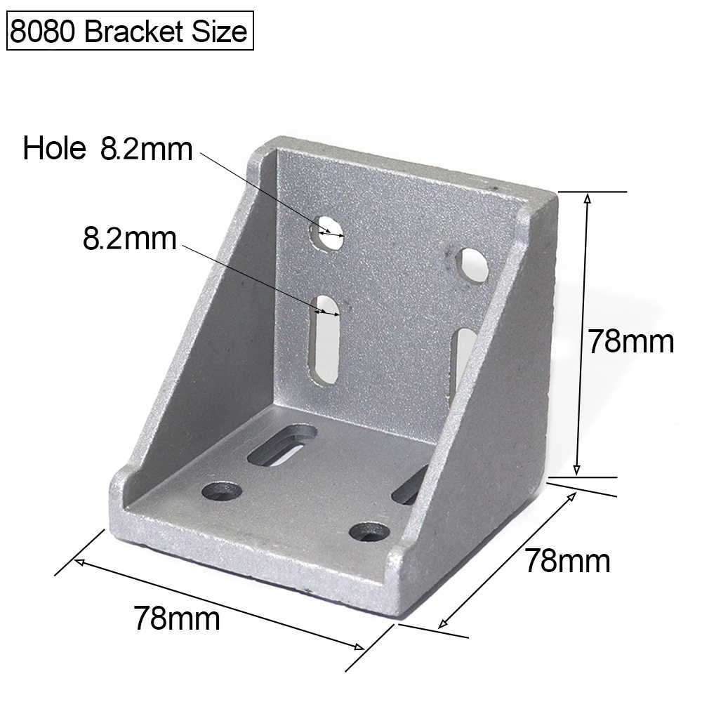6060 8080 Aluminum Angle Brackets Corner Joint Connector for T Slot  Aluminum Profile 6060 or 8080 Series