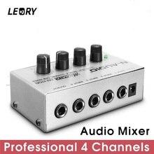 LEORY profesjonalny 4 kanał Audio mikser dźwięku DJ Mezclador muzyka DJ konsola miksująca dla Audio PC strona główna Karaoke KTV Mini