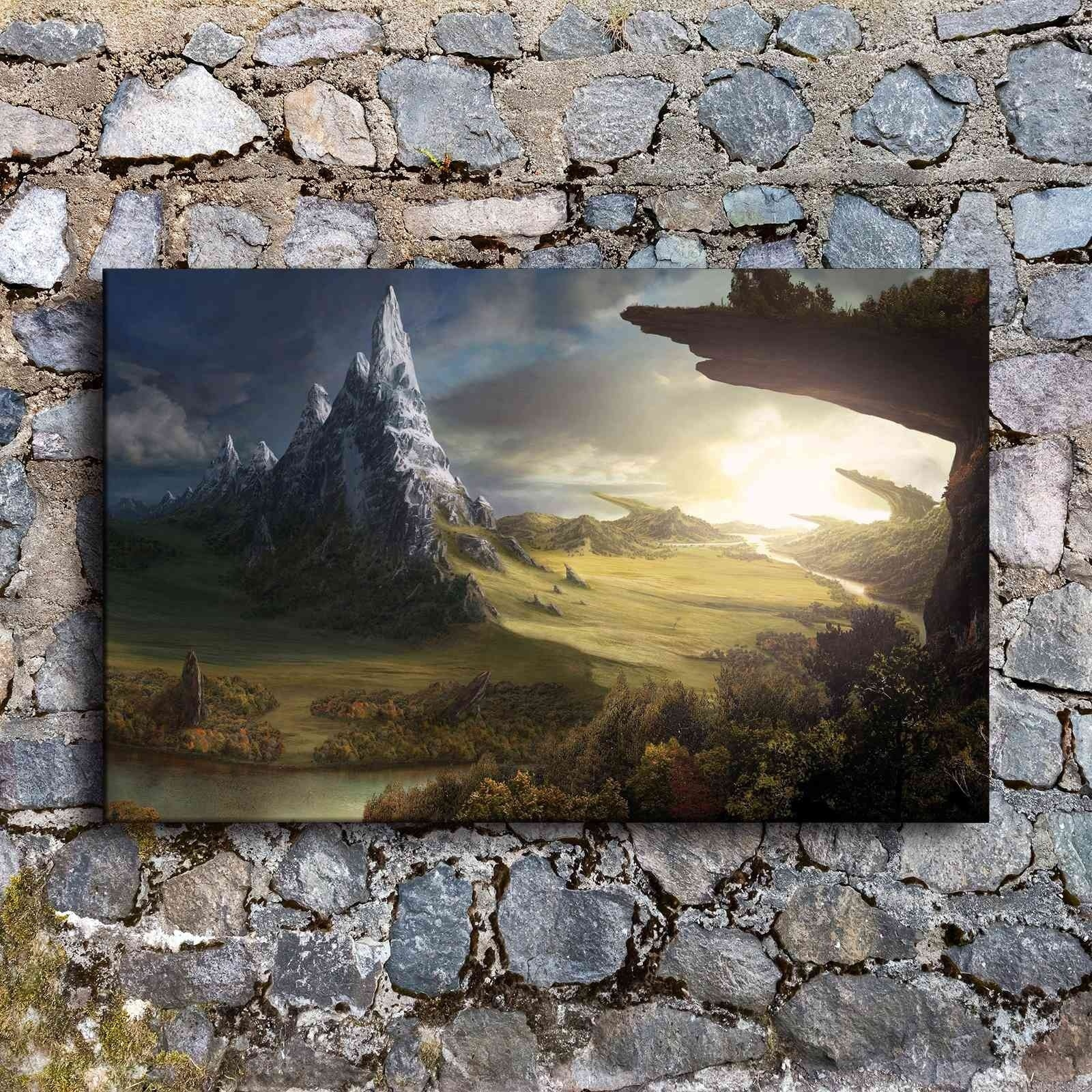 Fantasy Mountain Lake Landscape 5 panel canvas Wall Art Home Decor Print Poster