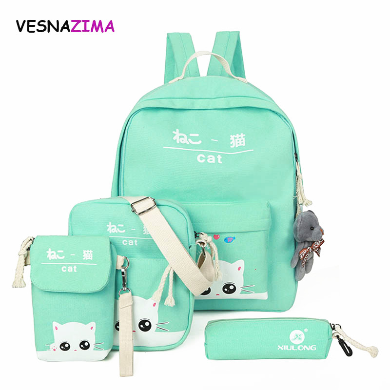 Vesnazima 5 Pcs/set Women Backpacks Cute Cat School Bags For Teenage Girls Printing Canvas Backpacks Ladies Shoulder Bags WM500Z 4 pcs set women backpacks cute printing bear school bags for teenage girls canvas backpacks ladies shoulder bag mochila feminina