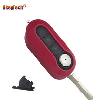 OkeyTech For Fiat 500 Panda Punto Bravo Idea 3 Buttons Replacement Flip Folding Remote Auto Switchblade Key Case Shell Cover Fob