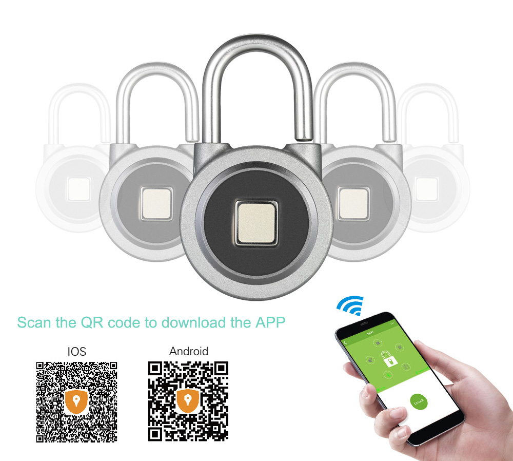 Fingerprint Smart Keyless Lock Waterproof APP Button / Fingerprint / Password Unlock Anti-Theft Padlock Door Luggage Case Lock