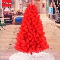1.5 m/150cm Red Christmas Tree Luxury Encryption PVC Environmentally Hotel Supermarket Bar New Year Decoration Supplies ZA1484