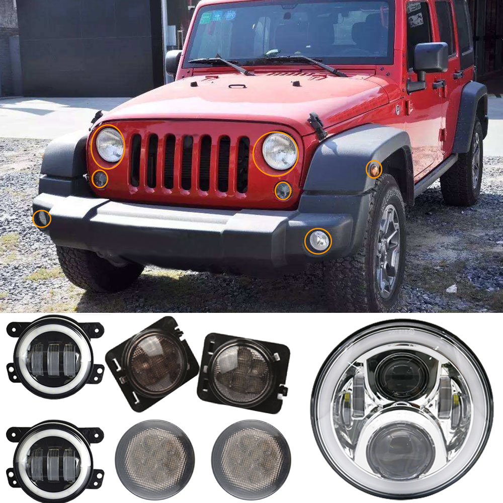 4 inch Fog Light Combo Kit For Jeep Wrangler JK +For Jeep Wrangler Led Light 7inch Halo Angel Eyes LED Headlights