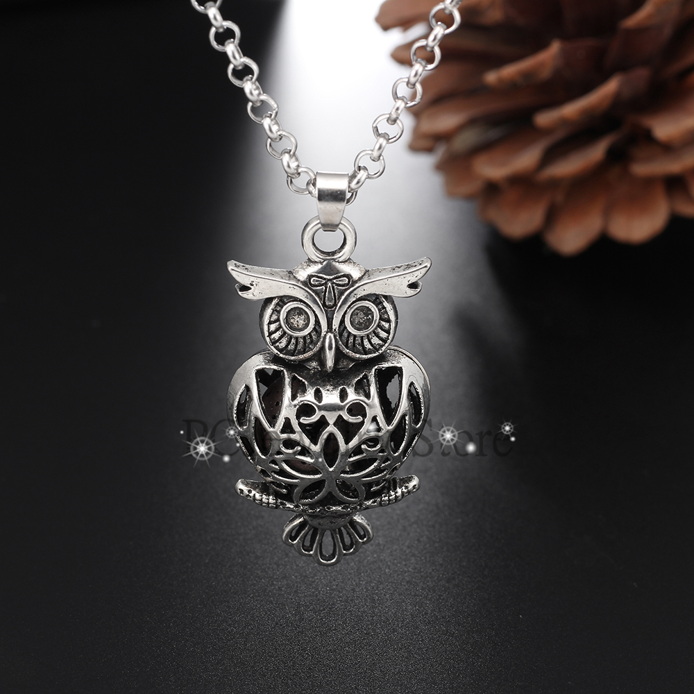 997b2056ca256c Vintage Silver Owl Lava Rock Aromatherapy Necklace Essential Oil Diffuser  Magnetic Closure Locket Necklace, Come with 70cm Chain-in Pendant Necklaces  from ...