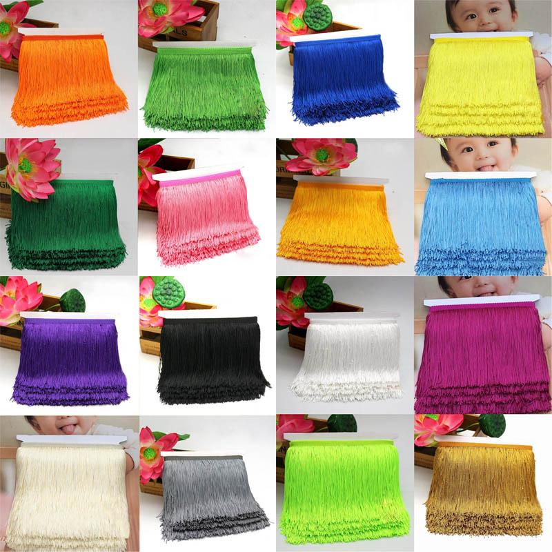 DIY Accessories Polyester Lace Trim Ribbon 15cm Long Fringe Curtain Lace Tassel 10 Yards Sew Latin Dress Stage Garment