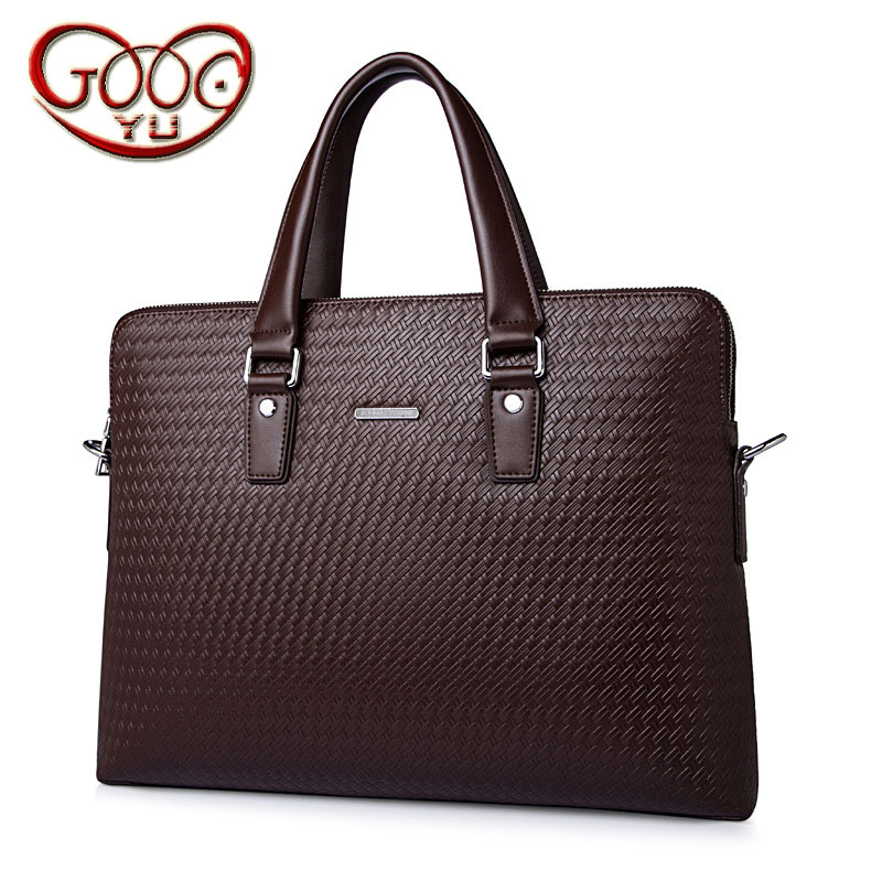 Explosive Men 's Cross Style Square Striped Handbag Genuine Leather Men' s Computer Case Second Layer Leather Weaving Briefcase