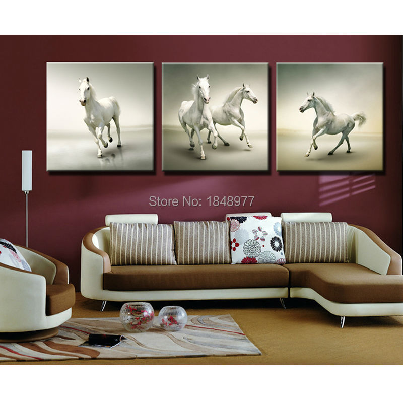 3 Panel Large Cuadros Running White Horse Paintings Animal Horses Rhaliexpress: Horse Paintings For Living Room At Home Improvement Advice
