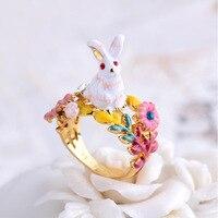 칠보 에나멜 꽃 토끼 시리즈 토끼 링 보석 도매