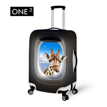 ONE2 Giraffe in Airplane Window Design Print Waterproof Luggage Cover with Zipper Close Protective Suitcase 22″ / 24″/26 inch