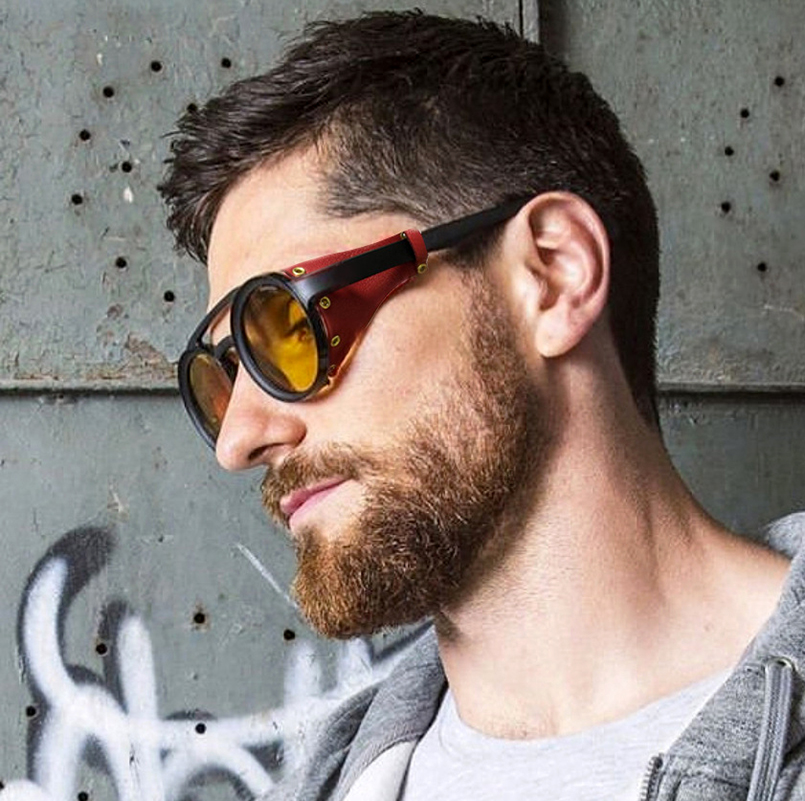 JackJad 2019 Fashion Vintage SteamPunk Punk Style Round Sunglasses Leather Side Shield Brand Design Sun Glasses Oculos De Sol