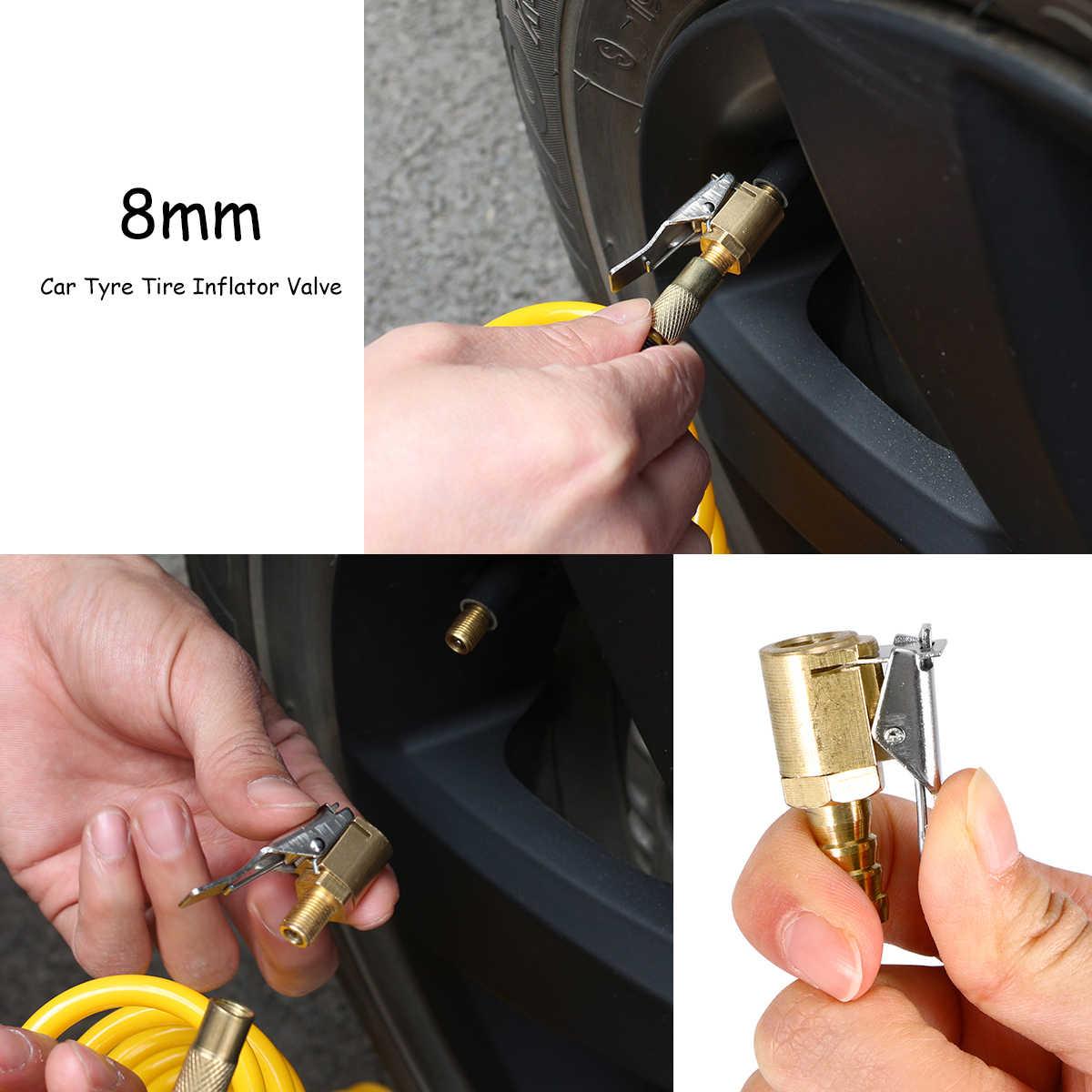 Válvula para Inflador de neumáticos de coche de 8mm, conector de conducto de aire, Conector de bomba neumática de cobre completo