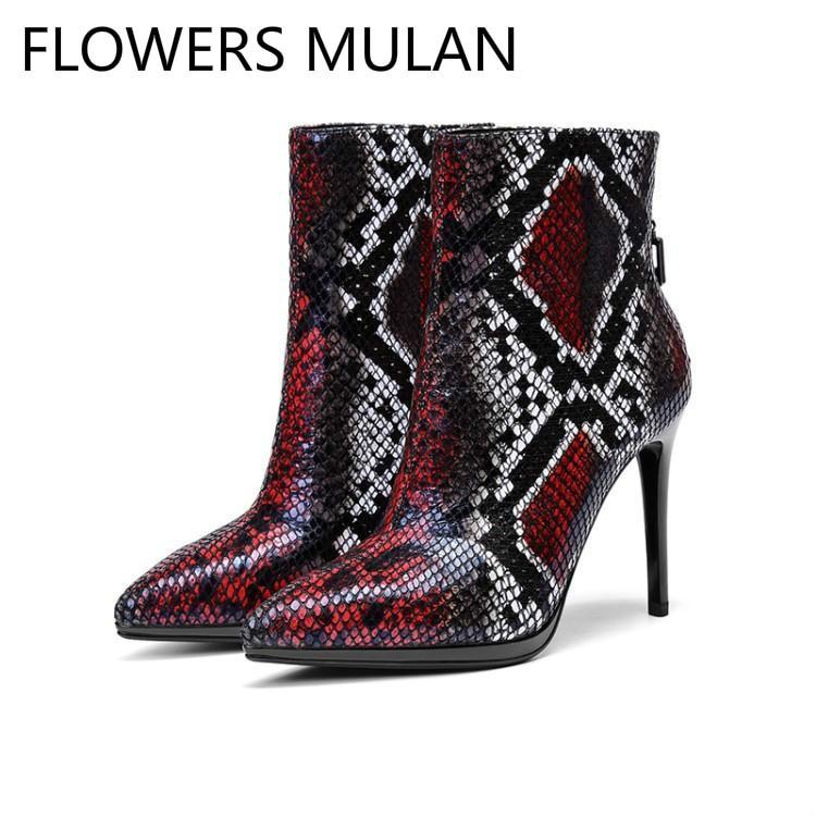 Motif Talons Python En Noir Femme Piste Chaussures Serpent Retour mNnwv80
