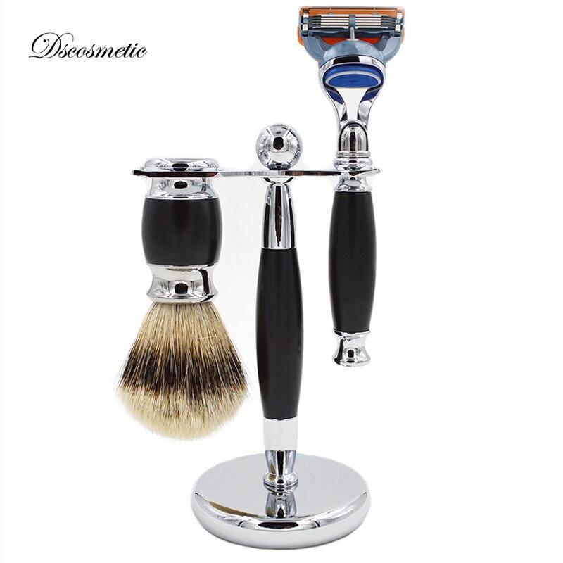 Men s Shaving brush Set silvertip Badger Hair Shaving Brush Razor Razor Stand Shaving Holder Male