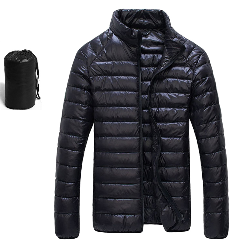Европейские Размеры Портативный Куртка–пуховик на 90% белом утином пуху Для мужчин теплые зимние мужские пальто Для Мужчин's Сверхлегкий Подпушка куртка Мужские парки Пальто Верхняя одежда