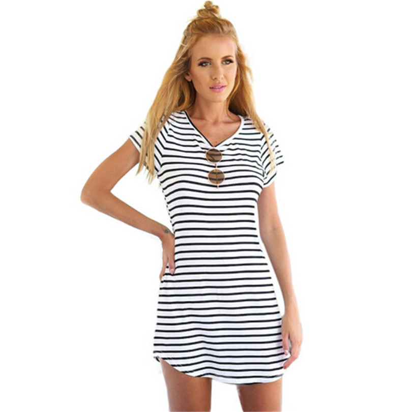 756966ac0c1dd New Arrive Female Sundress Black White Striped O Neck Mini Dress Woman  Summer Brief Dress Plus Size Women Clothes Robe Sexy S200-in Dresses from  Women's ...