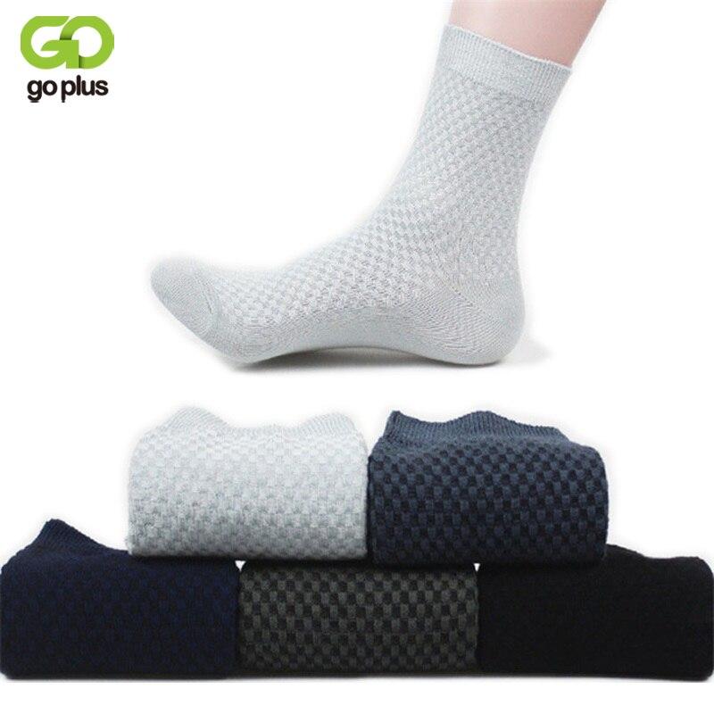 GOPLUS Mens Dress Socks Bamboo Male Brand Quality Small Squares Business Long Socks Men Plaid Socks Meias Longas C2280