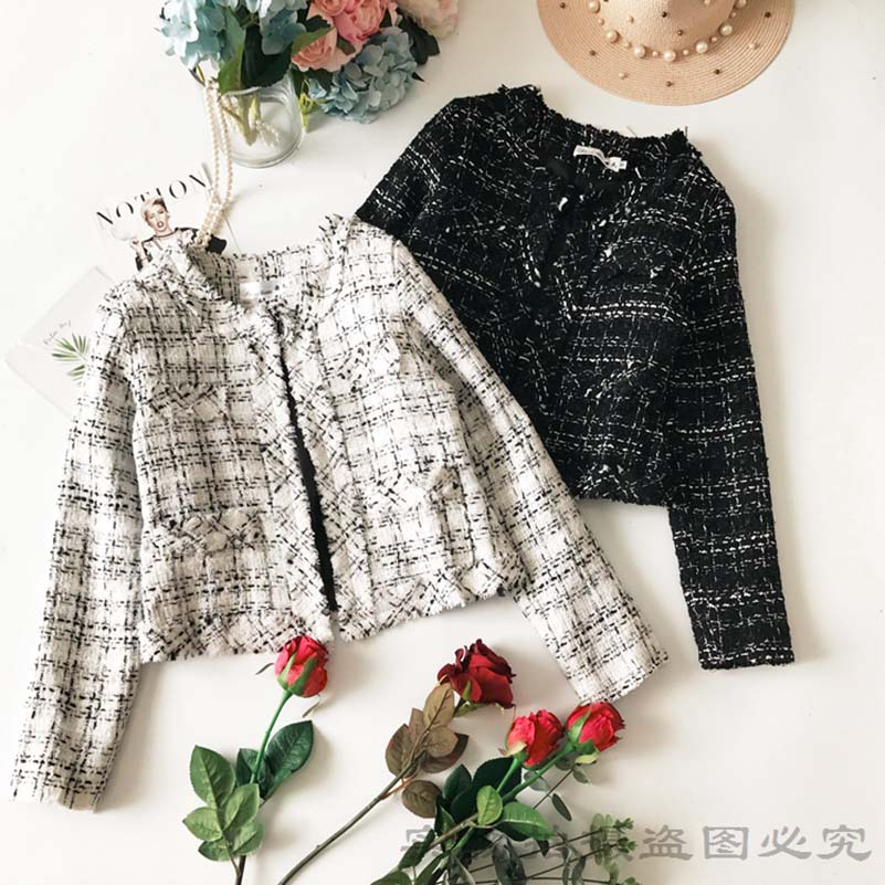New Spring Fashion Ladies Jacket Coat All match O Neck Single Breasted Tweeds Short Jackets for Women Long Sleeve Outwear Slim in Jackets from Women 39 s Clothing