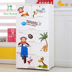 Armários de gaveta de plástico dos desenhos animados crianças armário armários de roupas de bebê caixa de armário gavetas