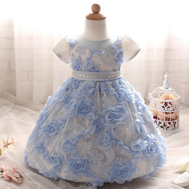 Nuevo Verano Primeros Años Subió Vestido de Flores para Bebé Recién Nacido Sólido Arco Cinturón Vestido De Novia Vestidos de la Fiesta de Cumpleaños Del Arco-nudo Vestidos