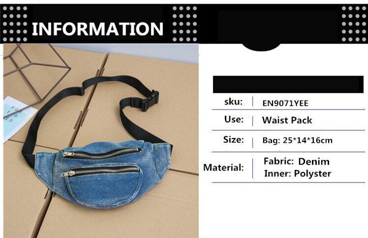 2ed2a5429cc21 Item Type  Waist Packs Main Material  Denim Gender  Women Style  Casual  Pattern Type  Solid Shape  Box Model Number  EN9071YEE Material  Composition  Denim ...