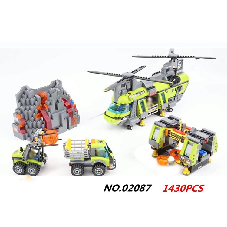 Hot city volcano heavy-lift helicopter building block transporter truck Forklift Expedition figures bricks 60125 toys for gifts hot city volcano heavy lift helicopter building block transporter truck forklift expedition figures bricks 60125 toys for gifts