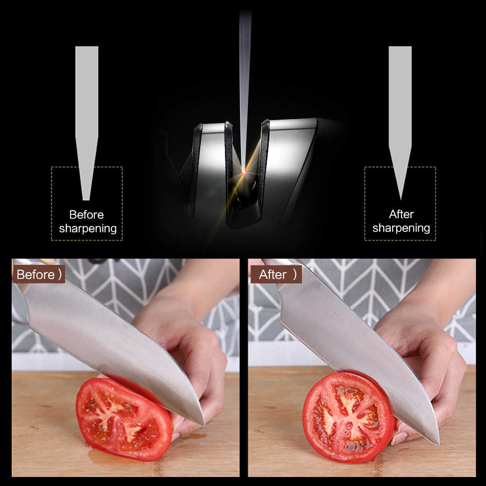XYj Household Knife Sharpener Kitchen Tools Two Stages(Diamond & Ceramic) Kitchen Cooking Knife Tool Sharpener Sharpening Stone