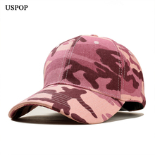 USPOP 2019 Newest baseball cap women men camouflage caps casual adjustable unisex fashion Gradient red visor