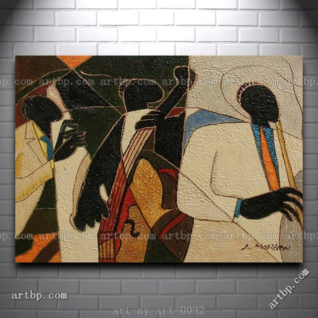 Contemporary Oil Painting Of People Playing Musical Instruments Cello Flute Film For Wall Wall Frame Decorative