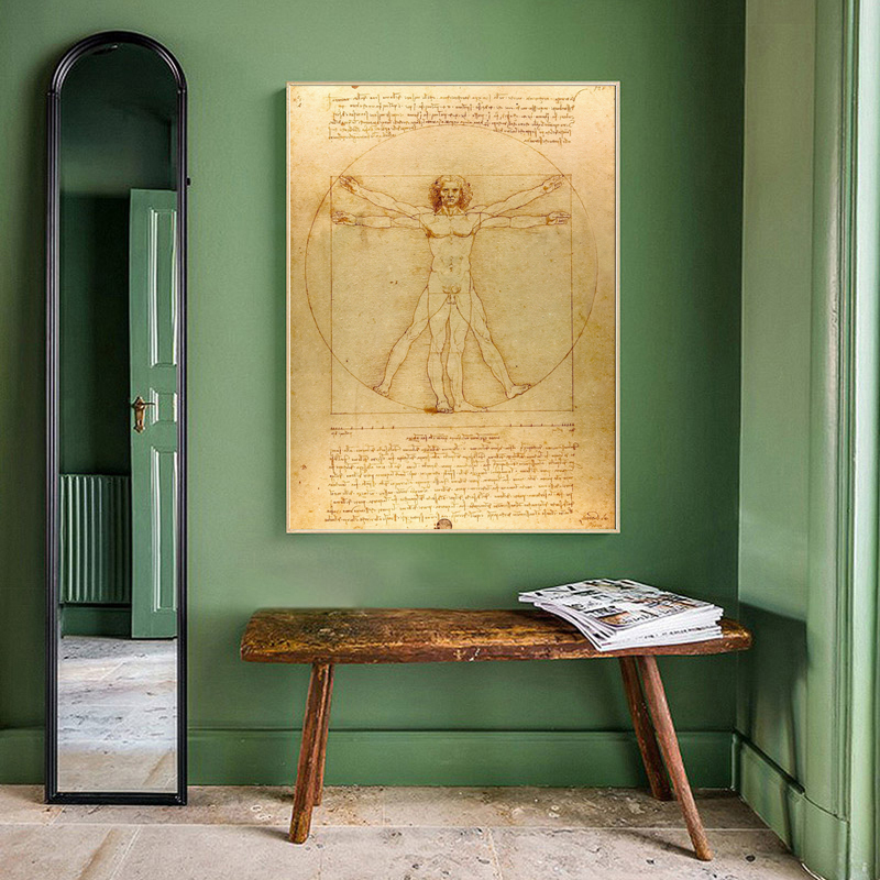 Classical Famous Painting Vitruvian Man, Study Of Proportions By Leonardo Da Vinci, Poster Prints Wall Art Canvas Painting Decor