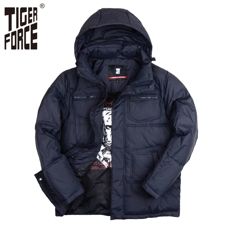 TIGER FORCE 2017 High Quality Men Parkas Cotton Jacket Polyester Padded Coat Brand Winter Coat Solid Zipper Free Shipping 7307A