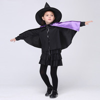 Masquerade Halloween Witch Costumes Girls Dress Carnival Festival Child Clothing With Hat Shawl Cosplay Witch Kids