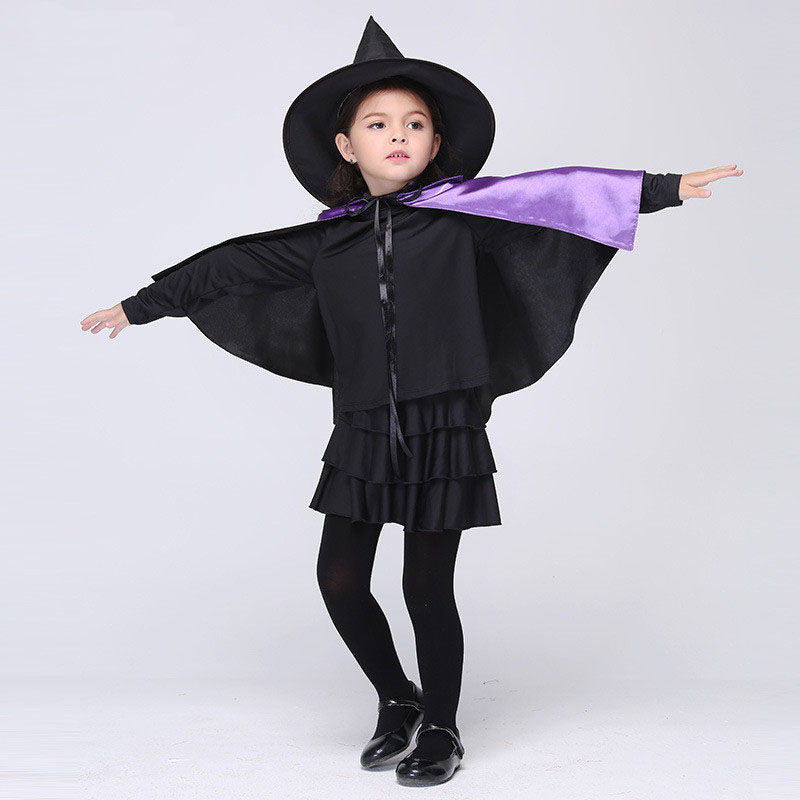 Masquerade Halloween Witch Costumes Girls Dress Carnival Festival Child Clothing With Hat Shawl Cosplay Witch Kids Tutu Dress