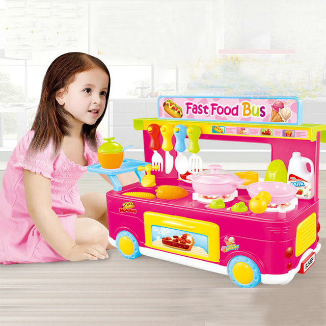 Kids Kitchen Toys Bus Dining Car Cooking Shopping Set Trolley Role